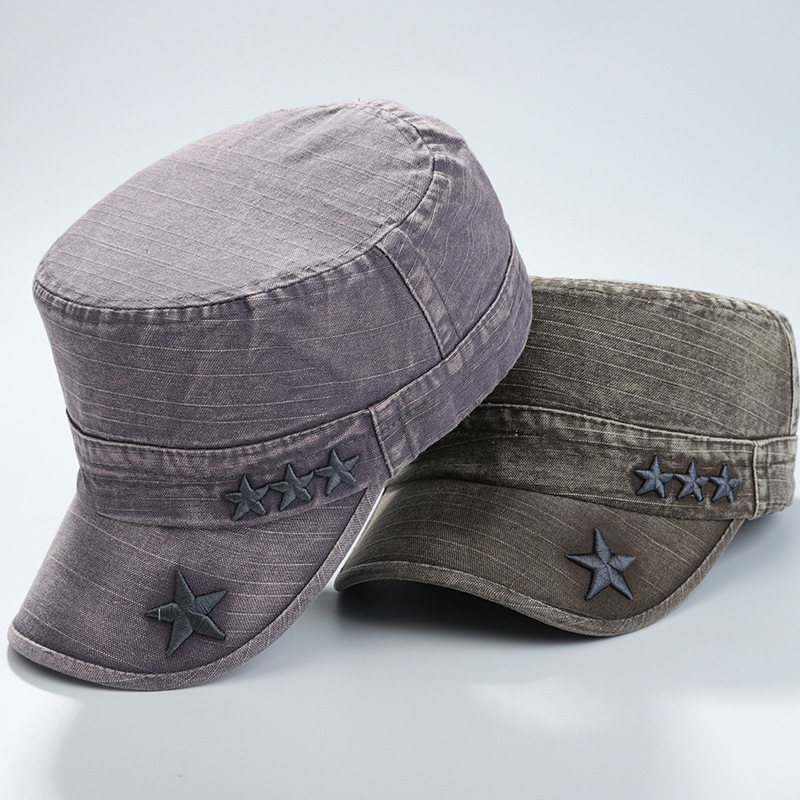 Mens Outdoor Washed Cotton Flat Top Hat Military Style Cap