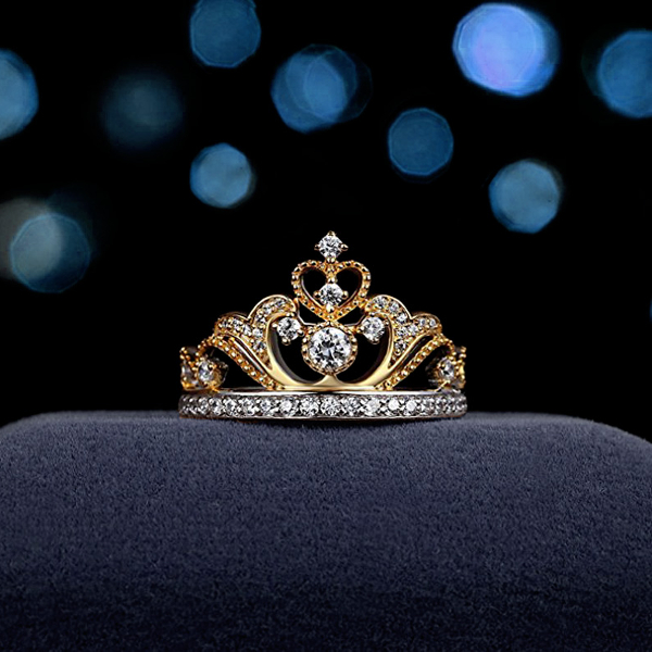 Elegant Women's Gold Plated Heart Zircon Crown Ring
