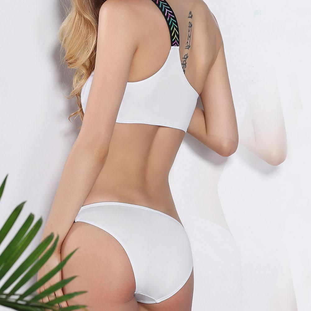 Women Sexy Split Shoulder Low Waist Bikini Swimwear Spot Beach Summer Swimsuit Suit