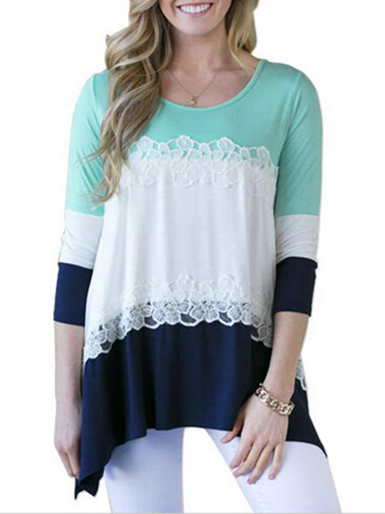 Casual Women Lace Pathwork Striped Long Sleeve Blouse 6