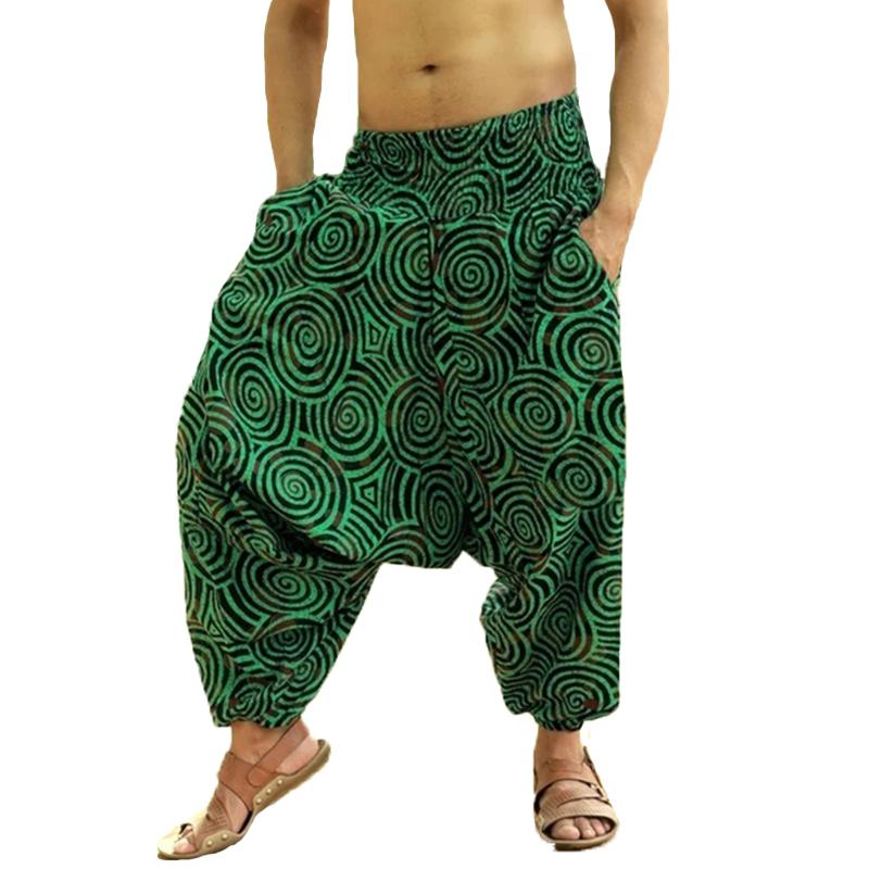 INCERUN Mens Harem Ethnic Style Loose Baggy Wide Leg Pants