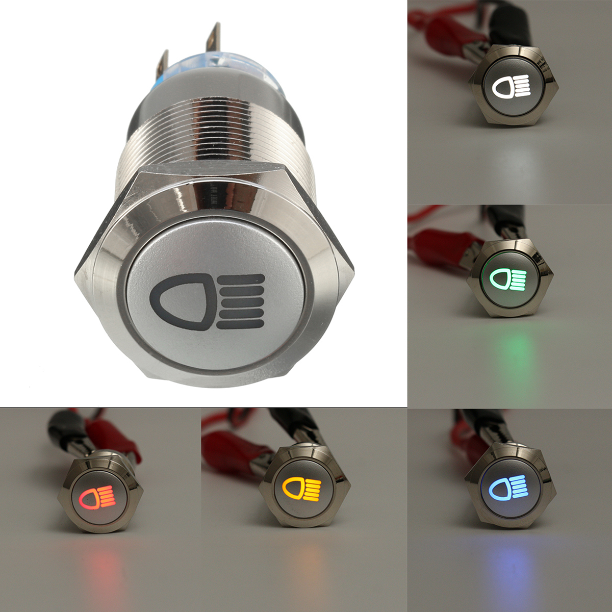 12V 19mm Silver Metal LED Push Button ON OFF Latching Switch Light Symbol