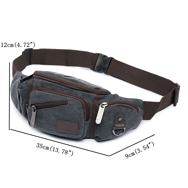 Canvas Waist Bag Outdooors Casual Multifunctional Waterproof Crossboby Bag For Men