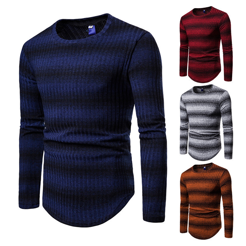 Men's Stripe Gradient Style Sweaters Pullovers