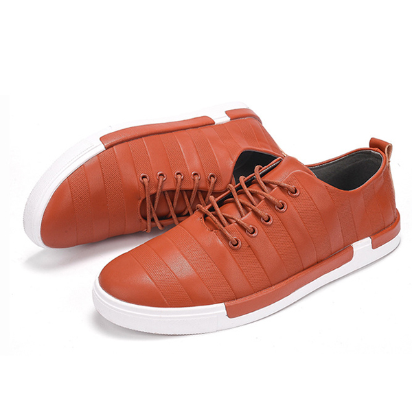 Men Casual Outdoor Leather Lace Up Flats Low Top Soft Sneakers Shoes