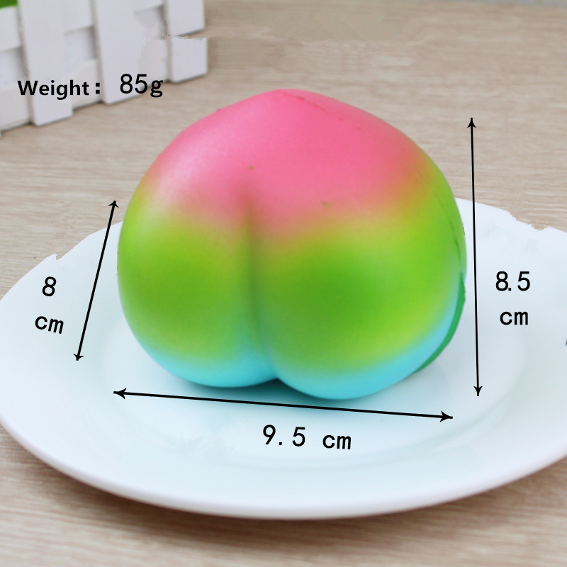 Rainbow Color Peach Squishy Toy 9.5*8.5*8cm Slow Rising With Packaging Collection Gift