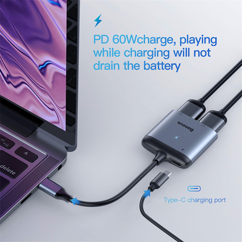 Baseus 3 in 1 Type-c to Dual 4K Dispaly PD Fast Charge Adapter HUB Docking Station for Xiaomi Cell Phone Tablet