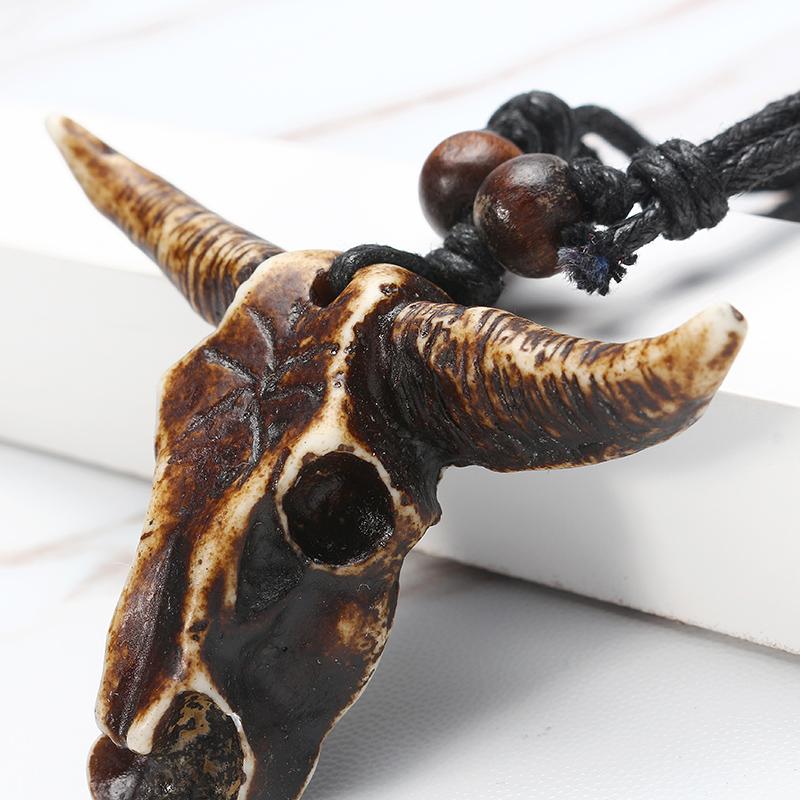 Vintage Ox Skull Head Pendant Adjustable Lether Long Necklace for Men Women