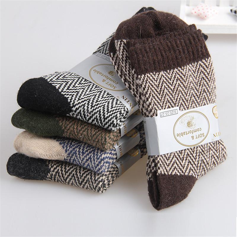 1 Pair Unisex Men Women Stripe Wave Pattern Woolen Rabbit Fur Socks Thicken Long Hosiery