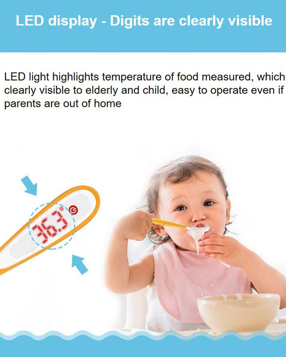 Vvcare TS01 LED Digital Temperature Control Spoon for Kids Baby Waterproof Feeding Supplies Battery Power