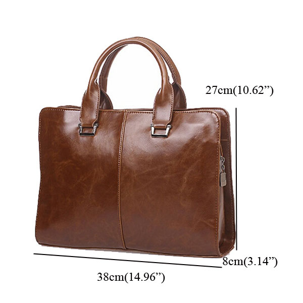 Leather Men Laptop Business Handbag Shoulder Bag Briefcase