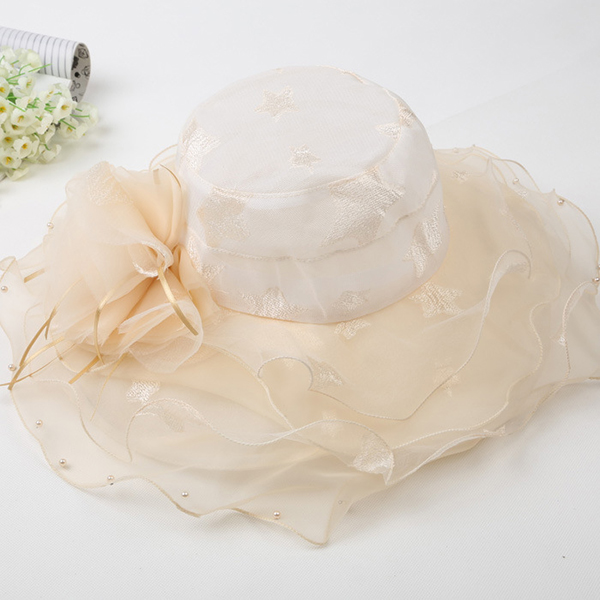Women Ladies Girl Summer Folding Floral Sun Hat Wedding Party Brim Wide Fashion Derby Hats