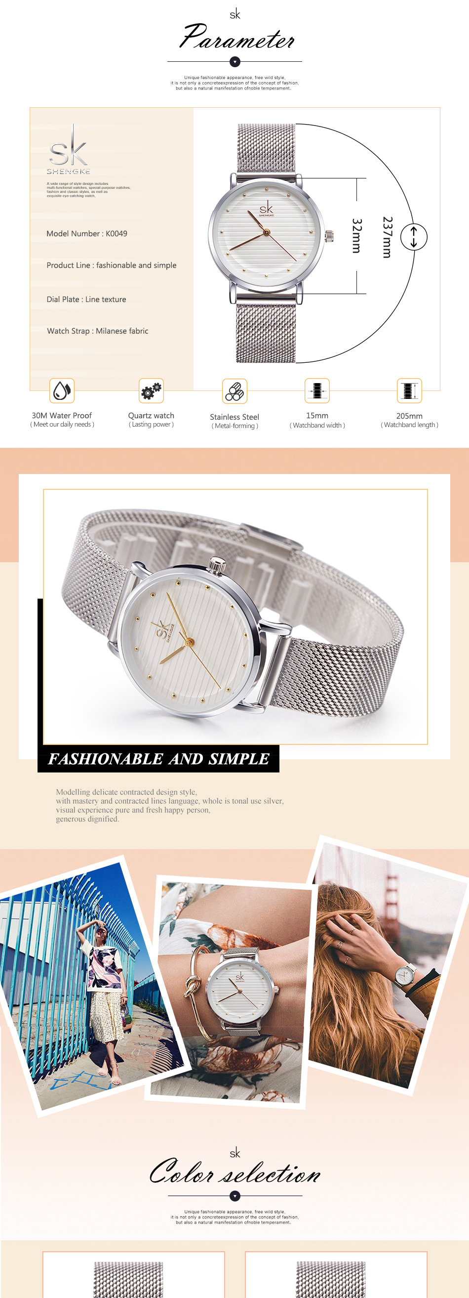 SK K0049 Casual Style Stainless Steel Dress Quartz Watches
