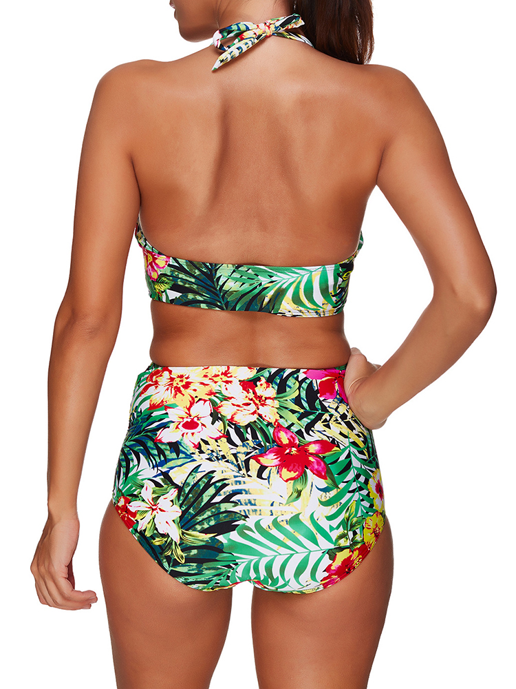 Backless Two Pieces Gather Lady Swimwear Suits