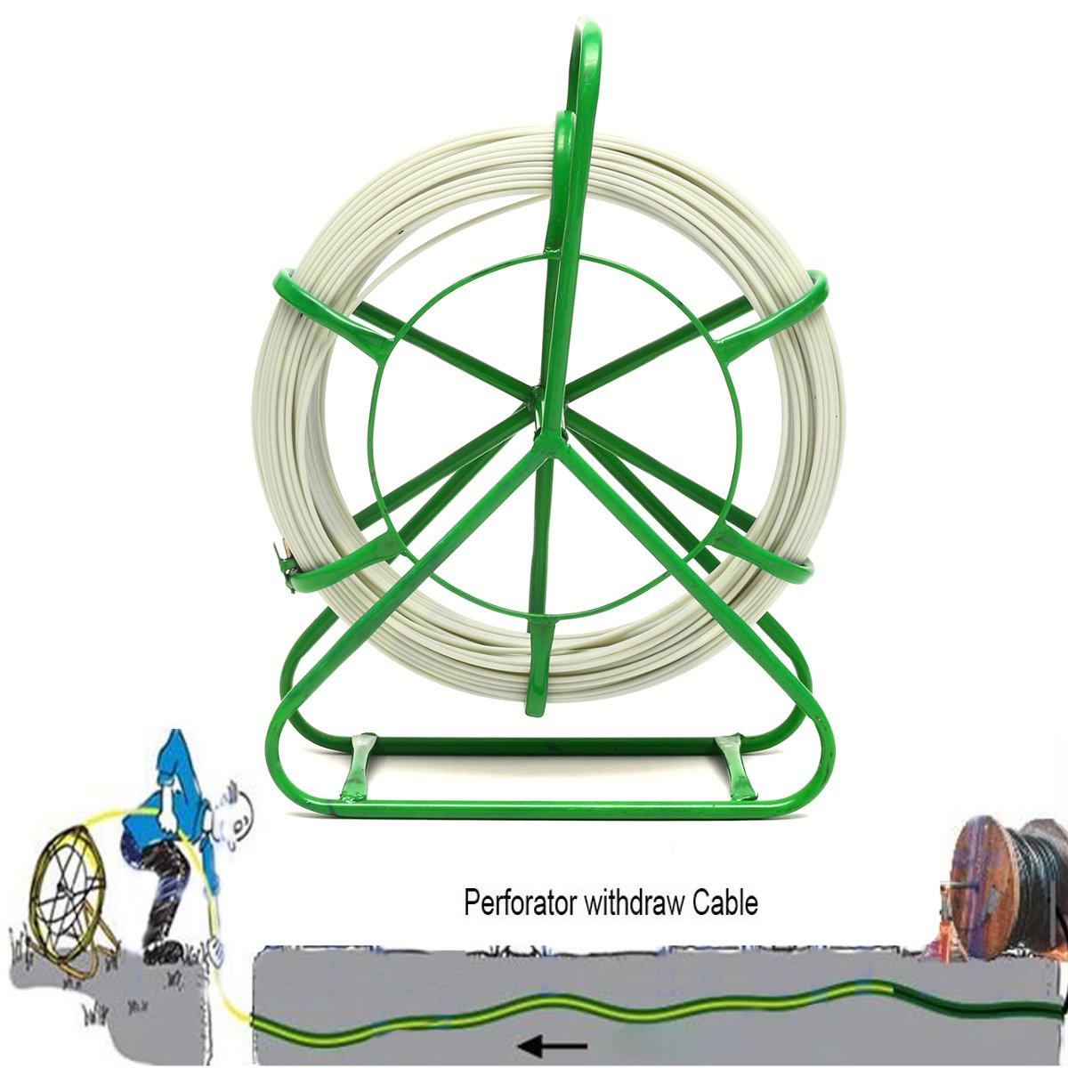 4.5mm x 70M FiberGlass Fiber Glass Wire Cable Snake Rod Rodder Duct Push Puller