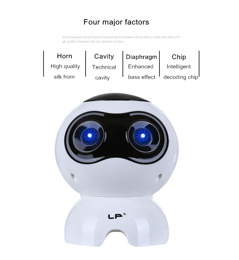 LP Q900 Hifi Robot Shape Mini Portable 2.0 Channel 3D Stereo 3.5mm Double Speakers for Phone Laptop