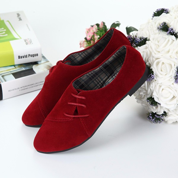New Women Flat Loafers Comfortable Lace-Up Suede Casual Flat Shoes