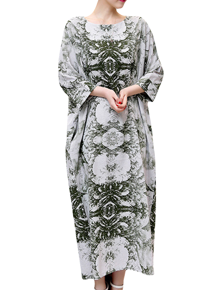 Vintage Women 3/4 Sleeve Ink Printed O-neck Pockets Robe Dresses