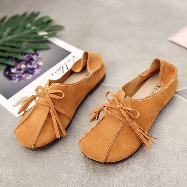 Pure Color Butterfly Knot Casual Flat Loafers
