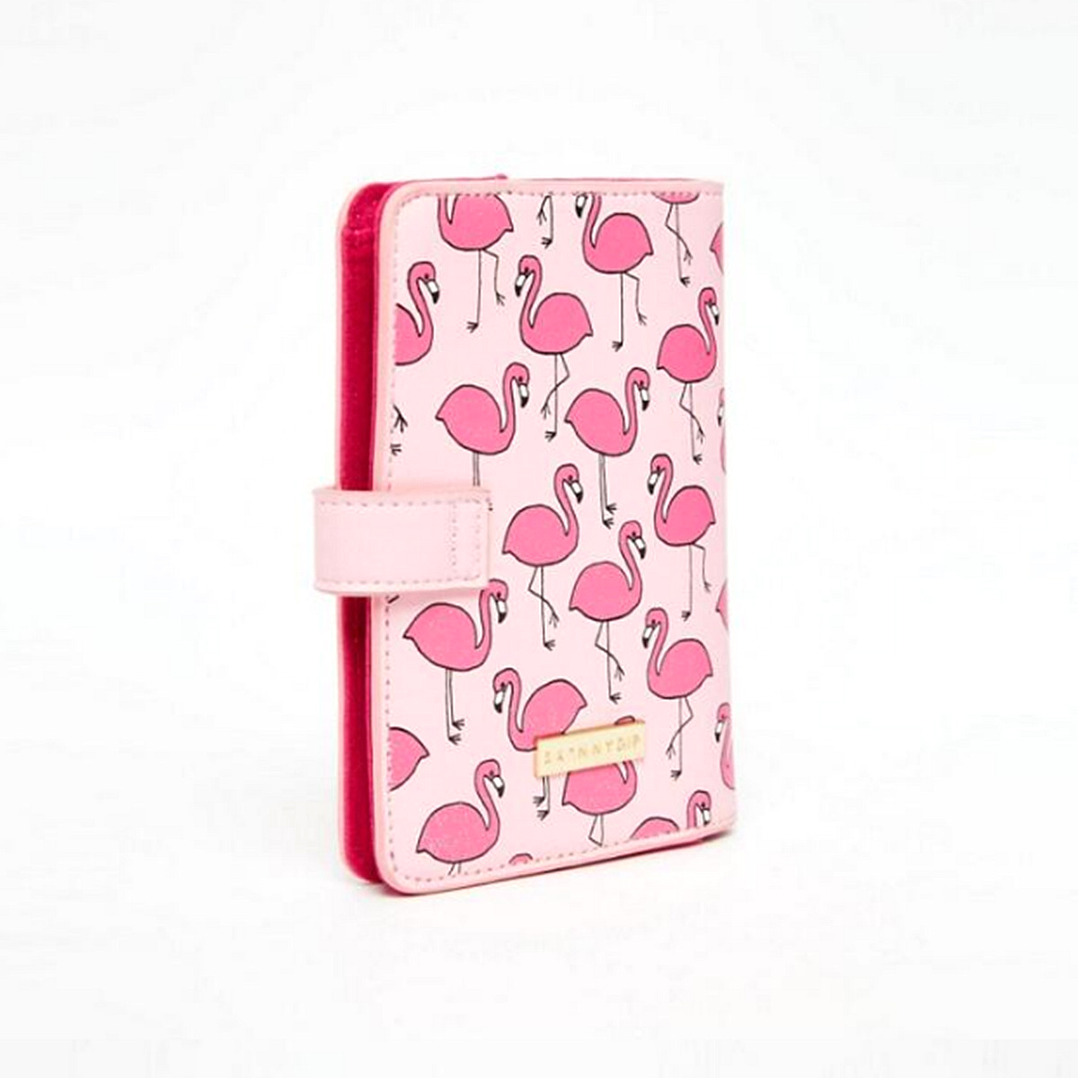 Flamingo Luggage Tag Passport Holder Purse Wallet Case PU Leather Pink
