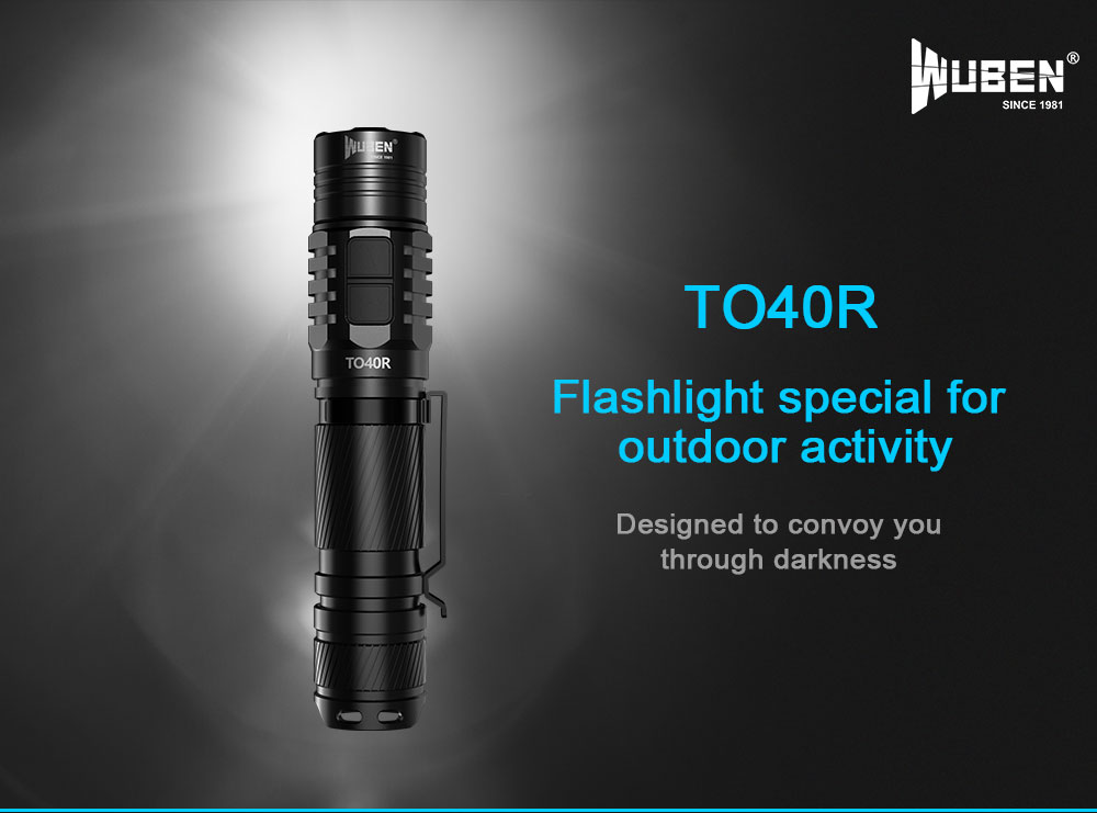 Wuben TO40R XP-L2 1200LM 5Modes Dual Switch USB Rechargeable Brightness LED Flashlight 18650