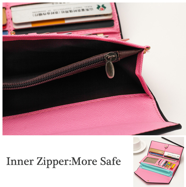 Women Envelope Slim Design Long Wallets Girls Elegant Purse Card Holder Coin Bags 5.5'' Phone Bags