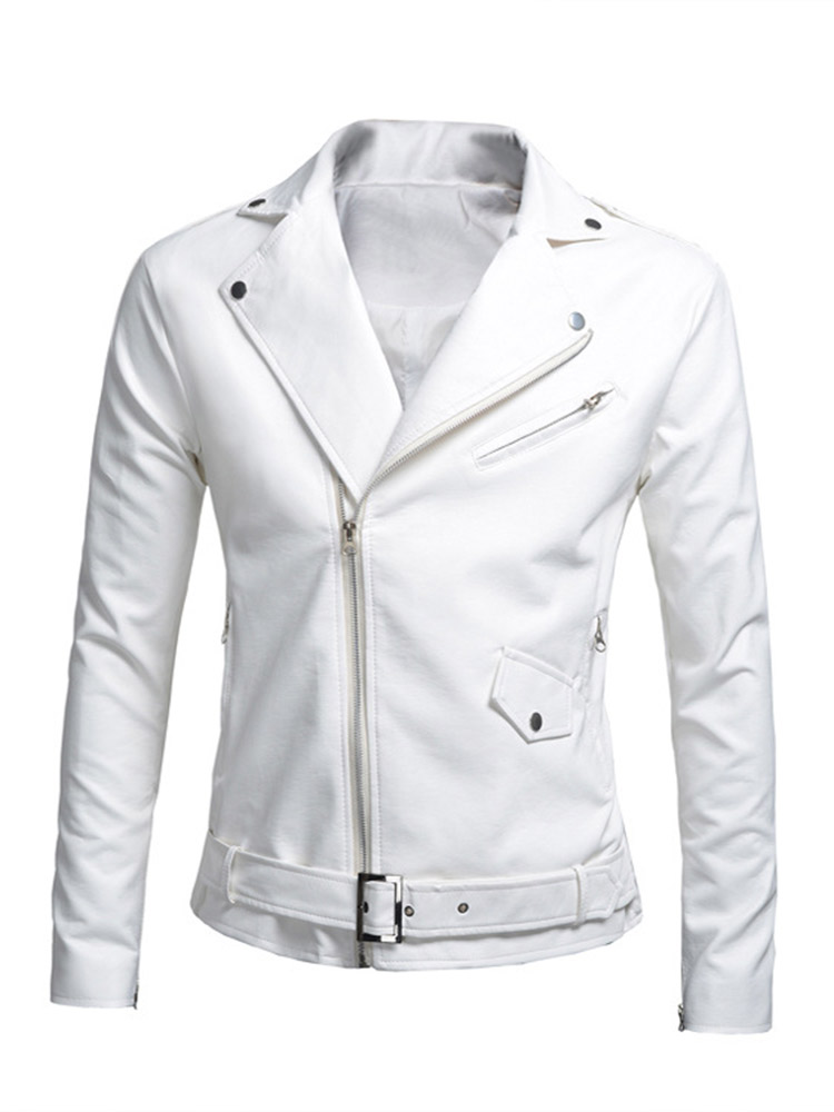 Casual Women Solid Lapel Zipper Long Sleeve Motorcycle Leather Jacket