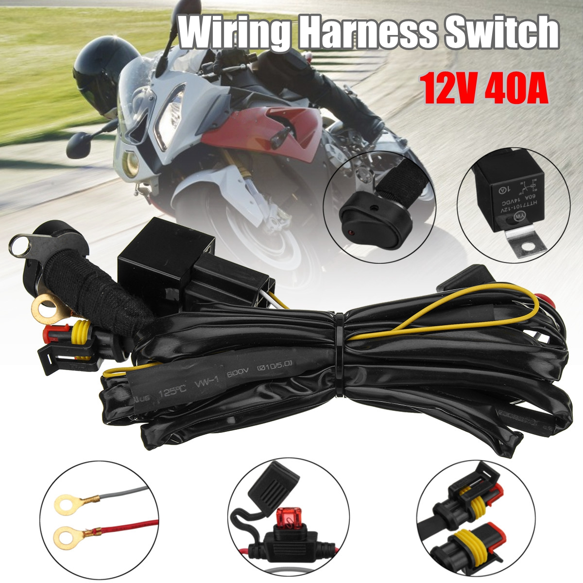 12V 40A LED Fog Lights Wiring Harness Switch On/Off For BMW R1200GS F800GS/ADV