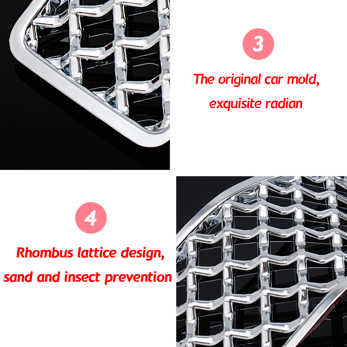 7 Chrome Front Inserts Mesh Grille Trim Accessories For Jeep Cherokee 2014-2017