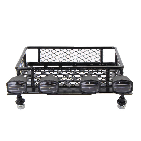 Jazrider Steel Luggage Tray Roof Rack with Light For 1/10 RC Car Truck Tamiya Axial