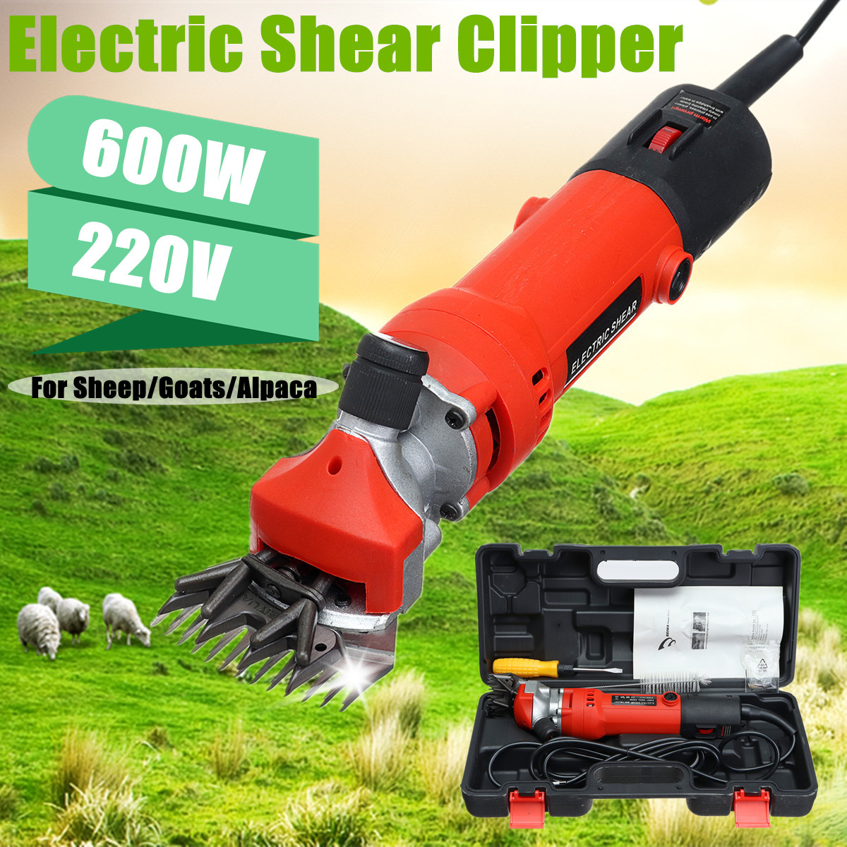 600W 220V Electric Sheep Shearing Machine Goat Hair Trimmer Clippers Power Tools