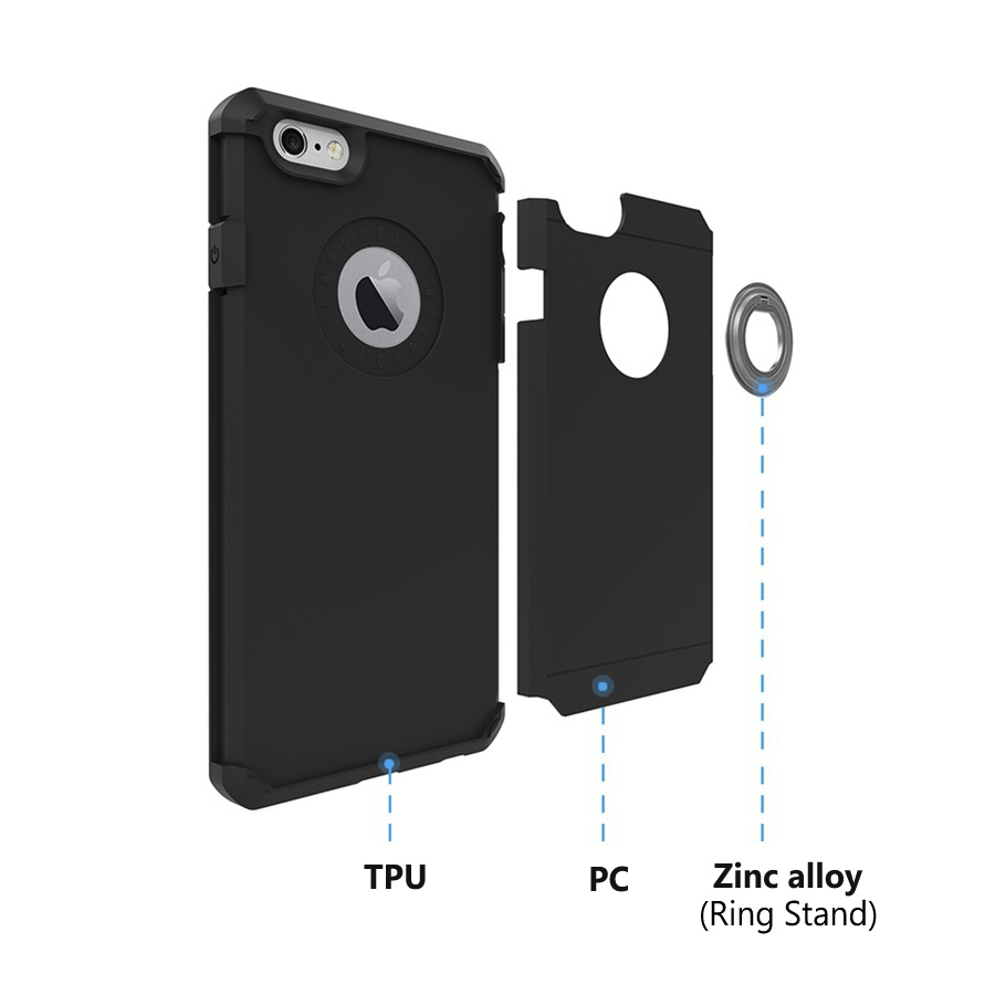 2 in 1 Hybrid TPU PC Ring Holder Buckle Bracket Stand Case Back Cover For iPhone 7 Plus 5.5 Inch