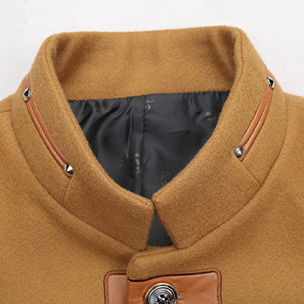 Woolen Jacket Faux Leather Patch Button Stand Collar for Men
