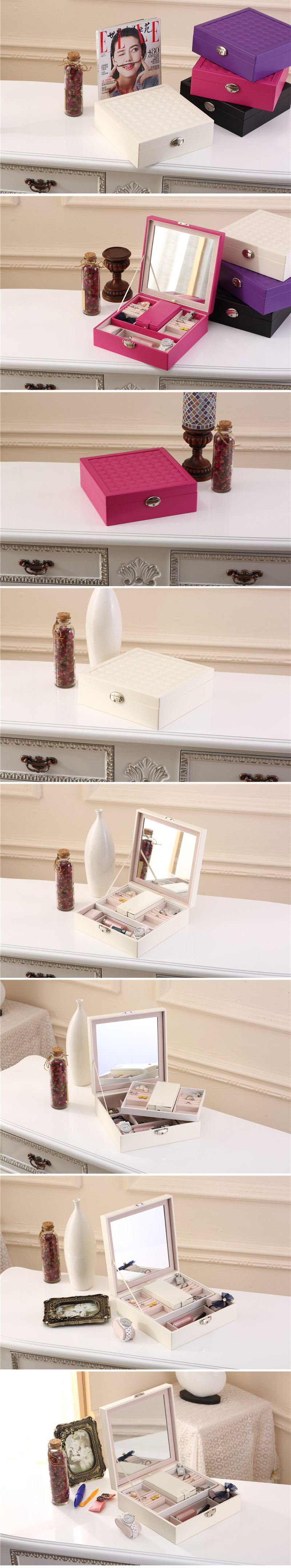 Watch Jewelry Diamond Necklace Box Storage Case With Mirror