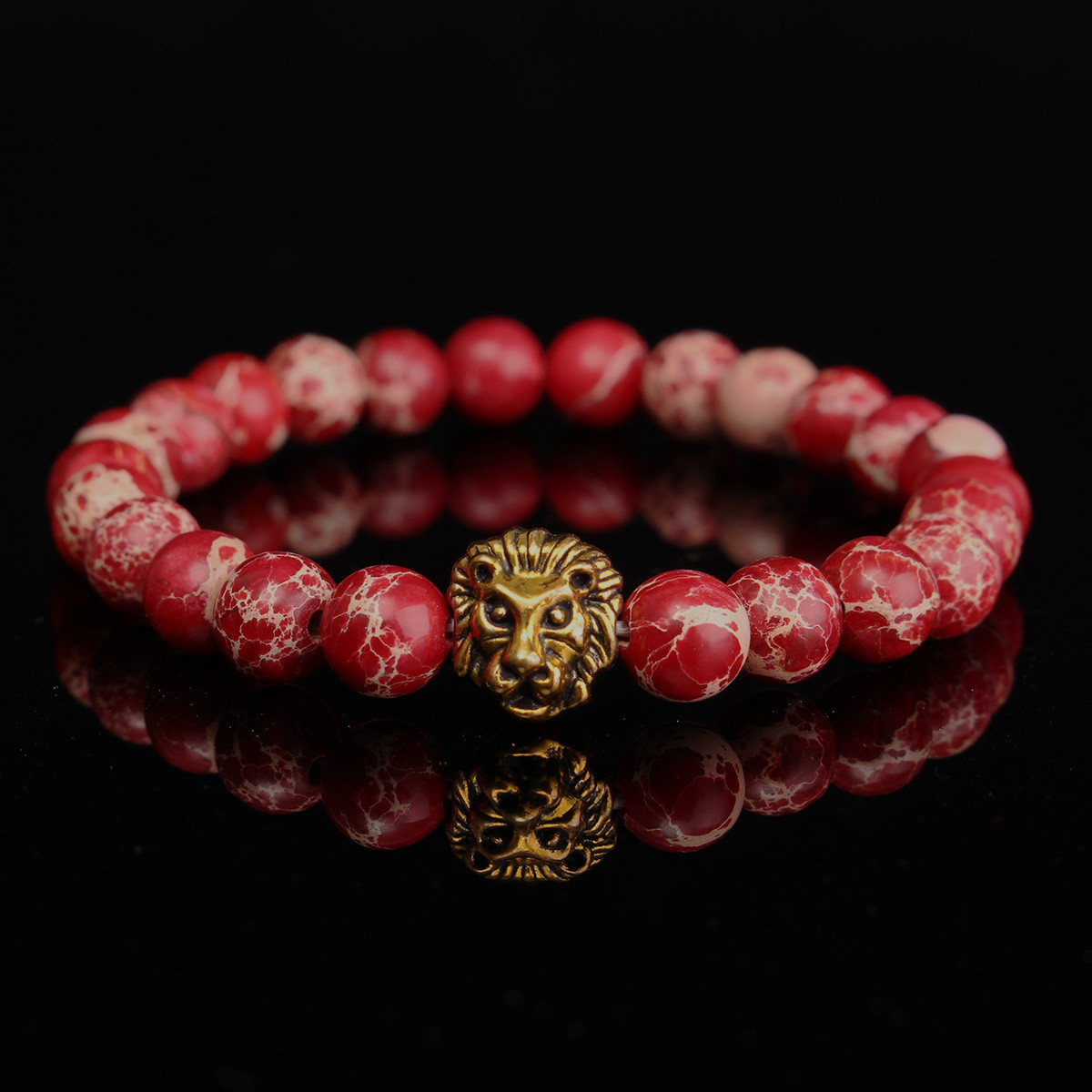 Red Sea Sediment Stone Lion Head Beads Bracelet Elastic Bangle Chain