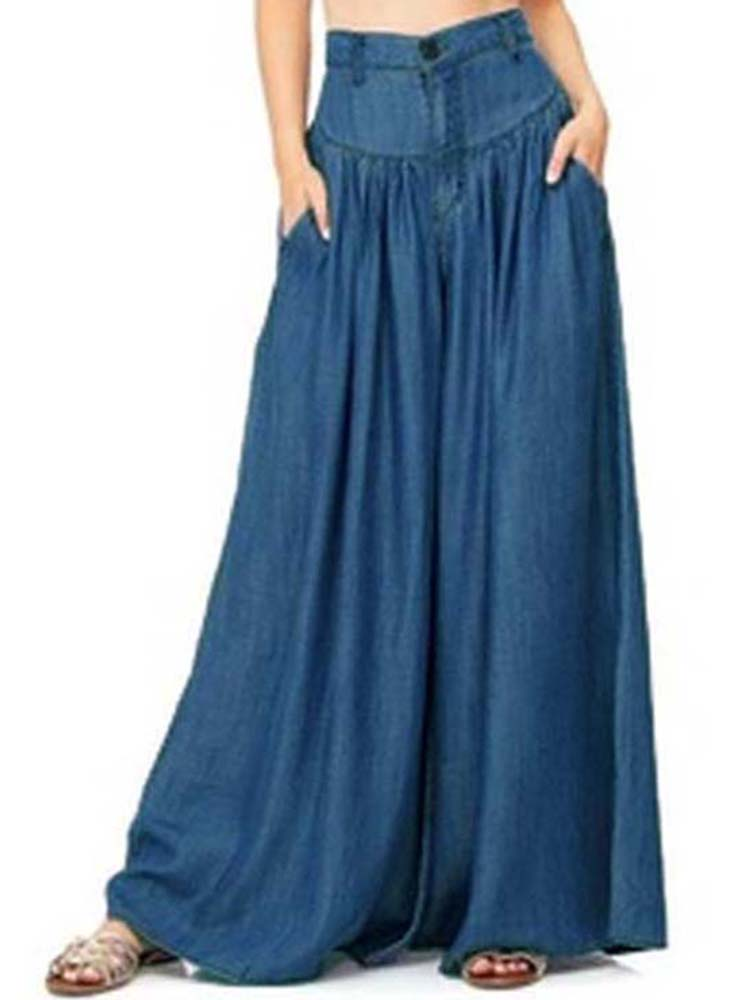 Image of Breites Bein Casual Pure Color Seitentasche Hosen Baggy Pants