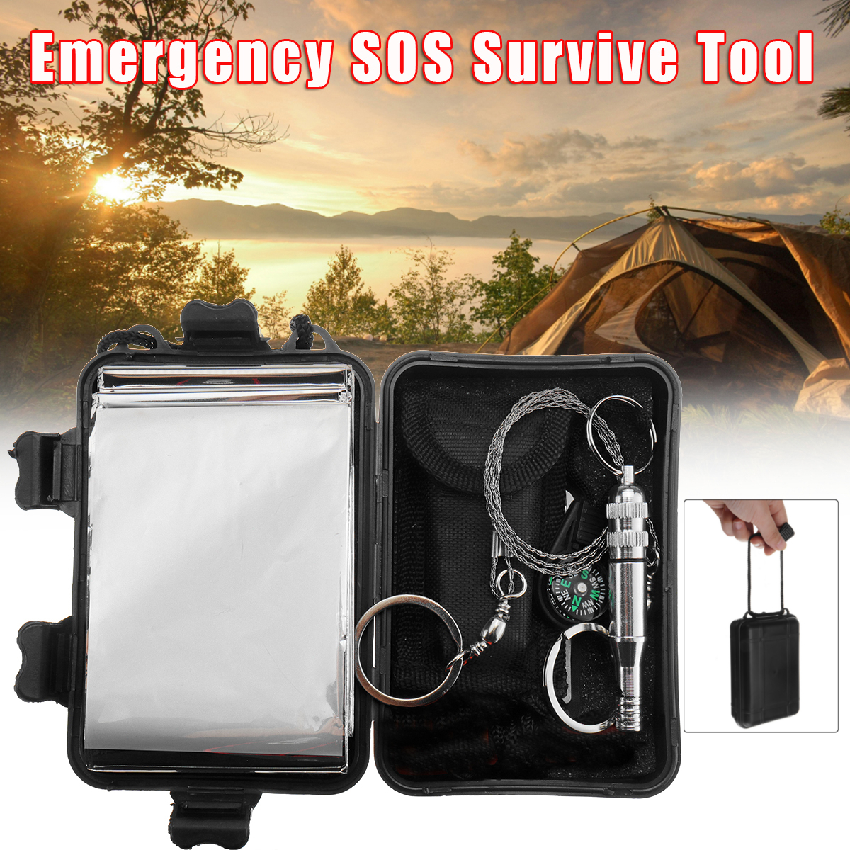 6 In 1 Emergenza SOS Survival Strumenti Kit EDC Strumento Multi-Purpose EDC Emergenza Strumenti Evereyday Carry Gear campeggio Kit