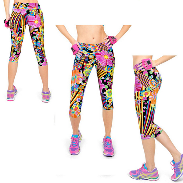 Athleisure Flower Printed Yoga Workout Sport Pant Running Fitness Gym Exercise Slim Legging Cloth
