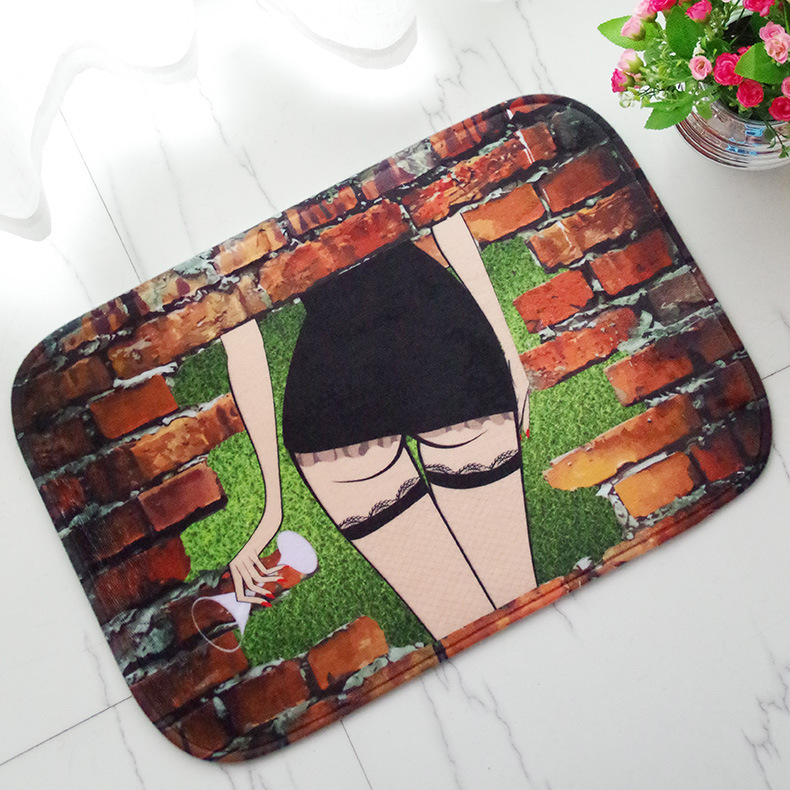 Modern Printing Club Style Sexy Women Bathroom Rug Polyester Carpet Toilet Cover Bath Mat