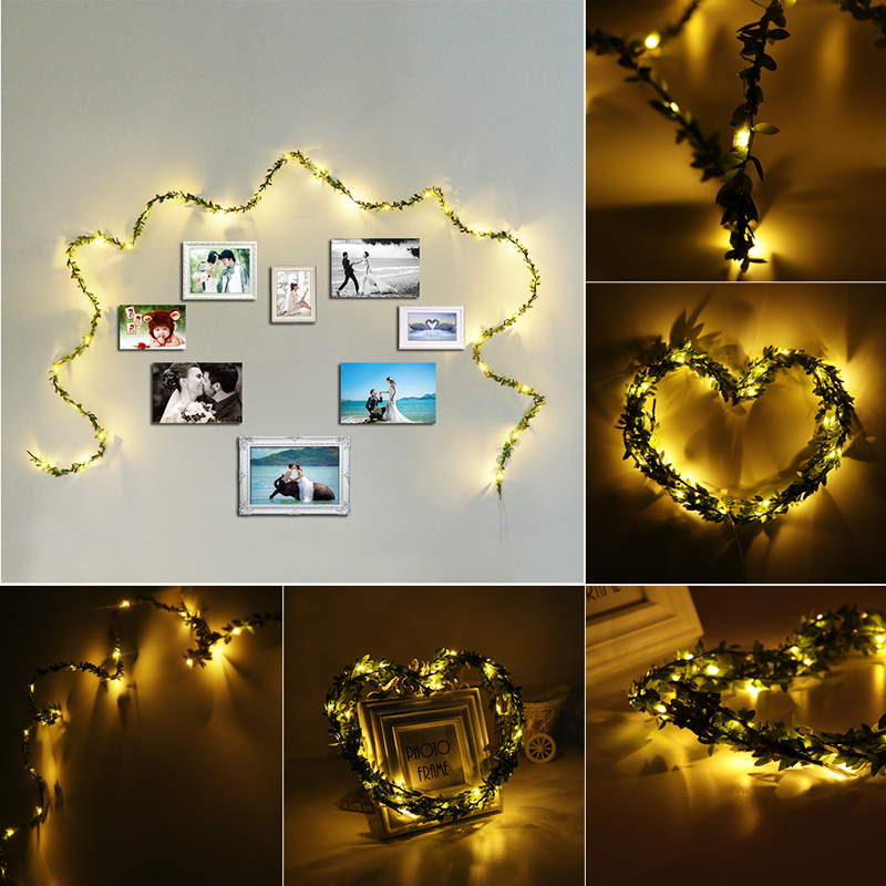 2M 20LEDs Wam White Leaf Garland Copper Fairy String Holiday Light for Christmas Party Decor DC3V