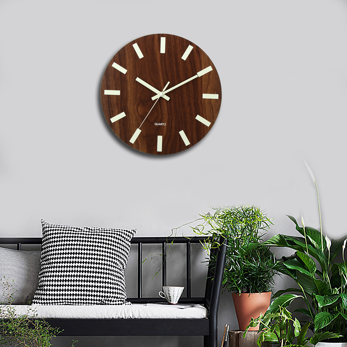 Wooden Wall Clock Glow In The Dark Silent Quartz Indoor Living Room Luminous