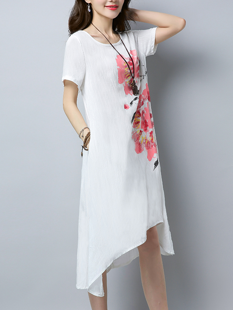 Casual Women Floral Printed Short Sleeve Irregular Hem Dress