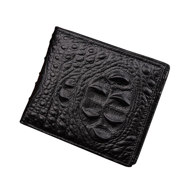 Men Genuine Leather Alligator Pattern Short Wallet Vintage Casual Business Card Holder Coin Bag