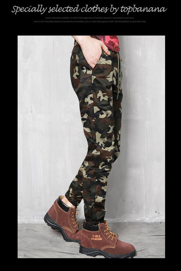 Plus Size Camouflage Outdoor Casual Pants Fashion Haren Beam Feet Trousers