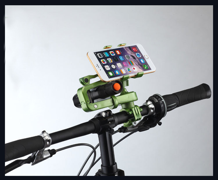 360° Rotation 2in1 Bicycle Cell Phone Holder Multifunctions Flashlight Holder Phone Clip