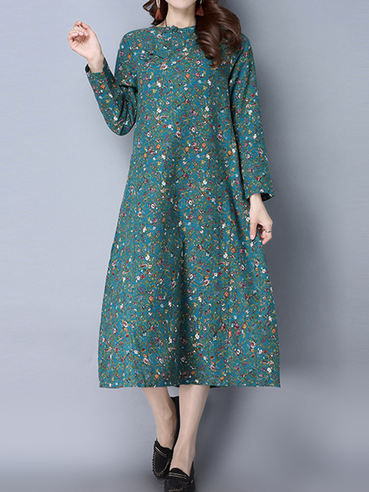 Chinese Style Women Floral Printed Plate Buttons Long Sleeve Vintage Dresses