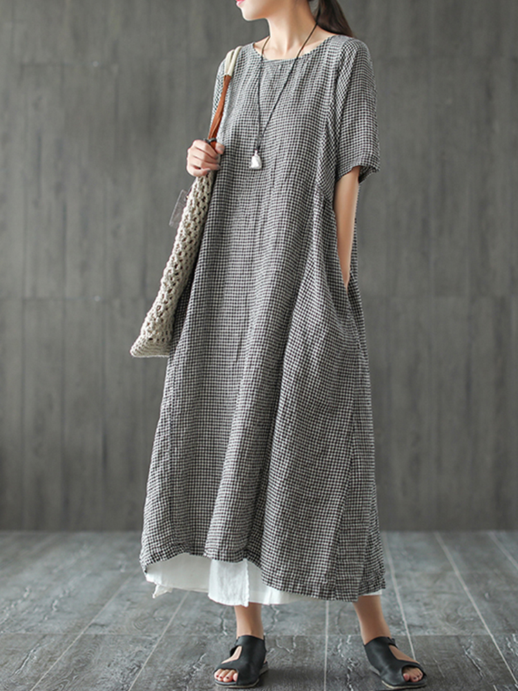 Women Retro Plaid Cotton Long Shirt Dress