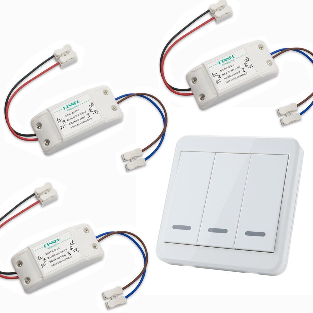3pcs KTNNKG Wireless Light Switch Kit + KTNNKG 433MHz Universal Wireless Remote Control 86 Wall Panel RF Transmitter With 3 Buttons