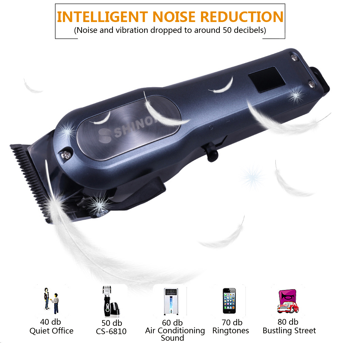 Electric Cordless Hair Clipper Trimmer Power LCD Display