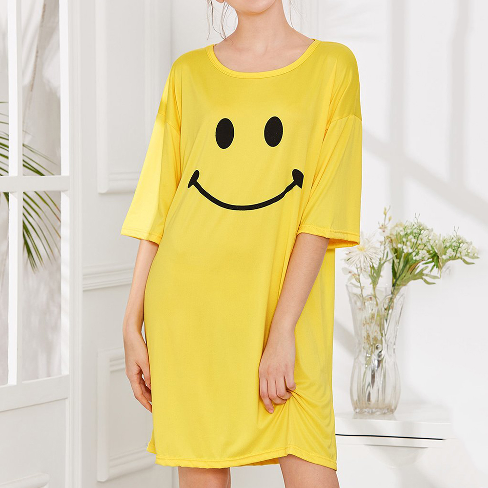 Milk Silk Women Loose Smile Printing Comfortable Pajamas
